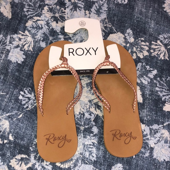 Roxy metallic braided sandals flip flop rose gold